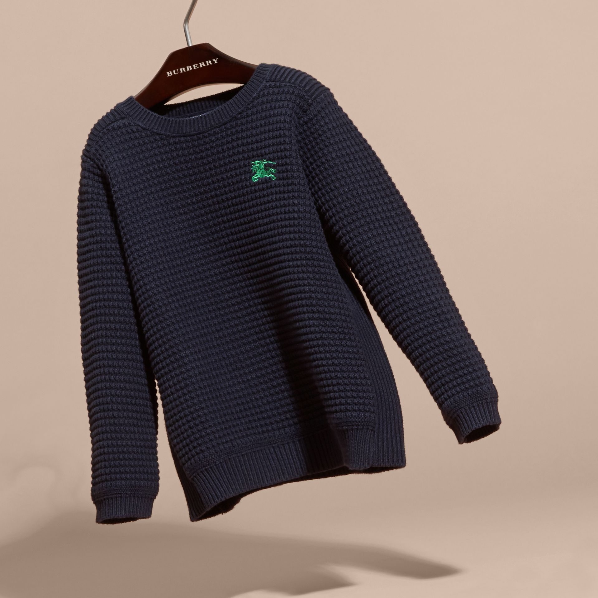 Waffle Knit Cotton Sweater Navy - gallery image 3