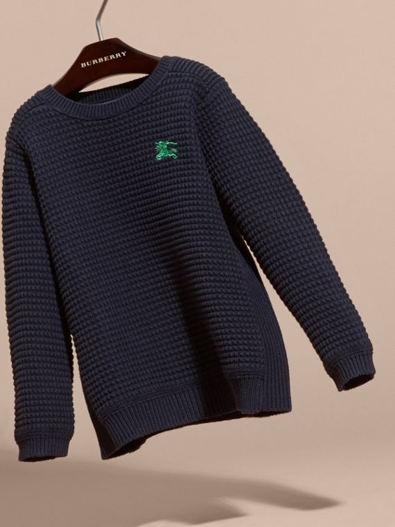 Waffle Knit Cotton Sweater Navy - cell image 2