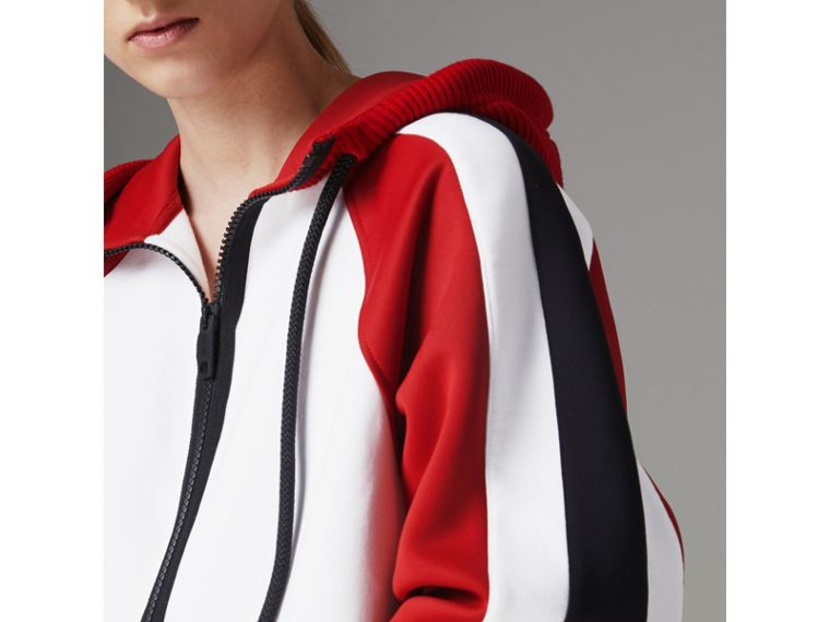 Stripe Detail Cotton Blend Jersey Hooded Top in White - Women | Burberry - cell image 1