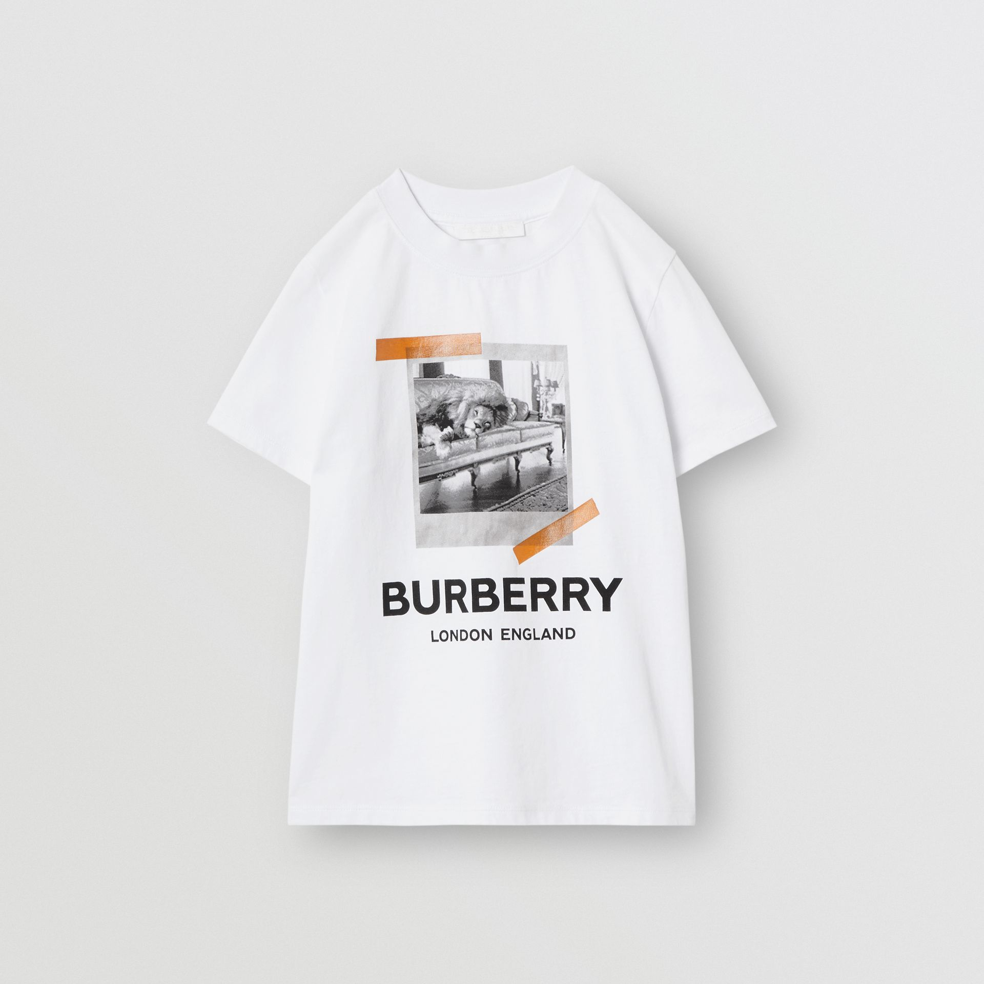 Vintage Polaroid Print Cotton T-shirt in White | Burberry - gallery image 0