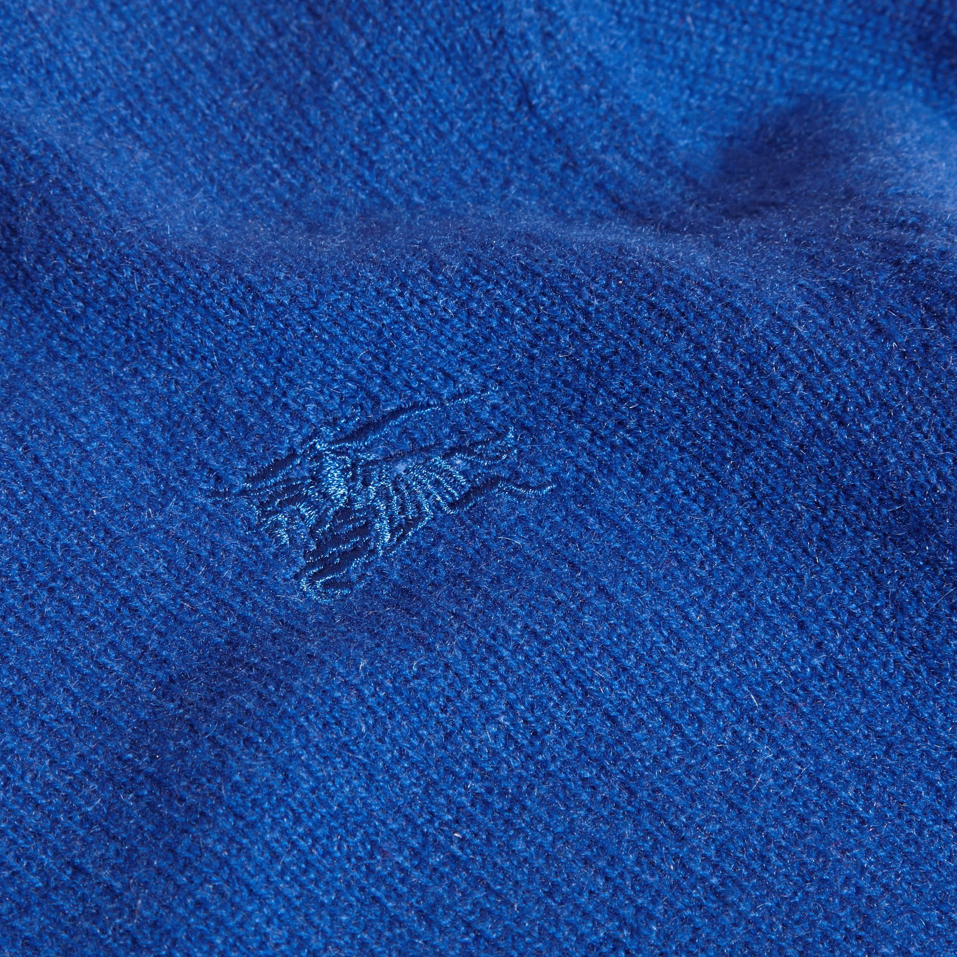 Check Elbow Patch Cashmere Sweater in Brilliant Blue - gallery image 2