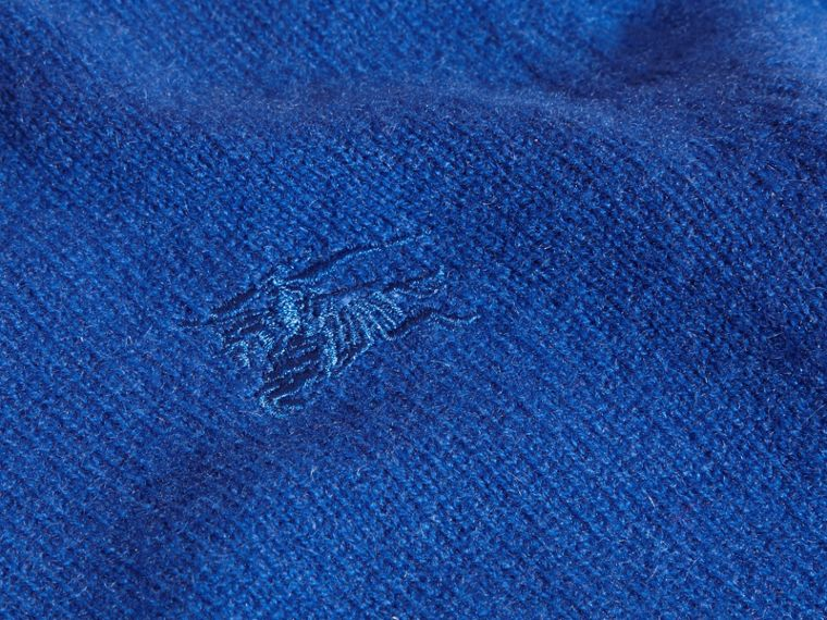 Check Elbow Patch Cashmere Sweater in Brilliant Blue - cell image 1