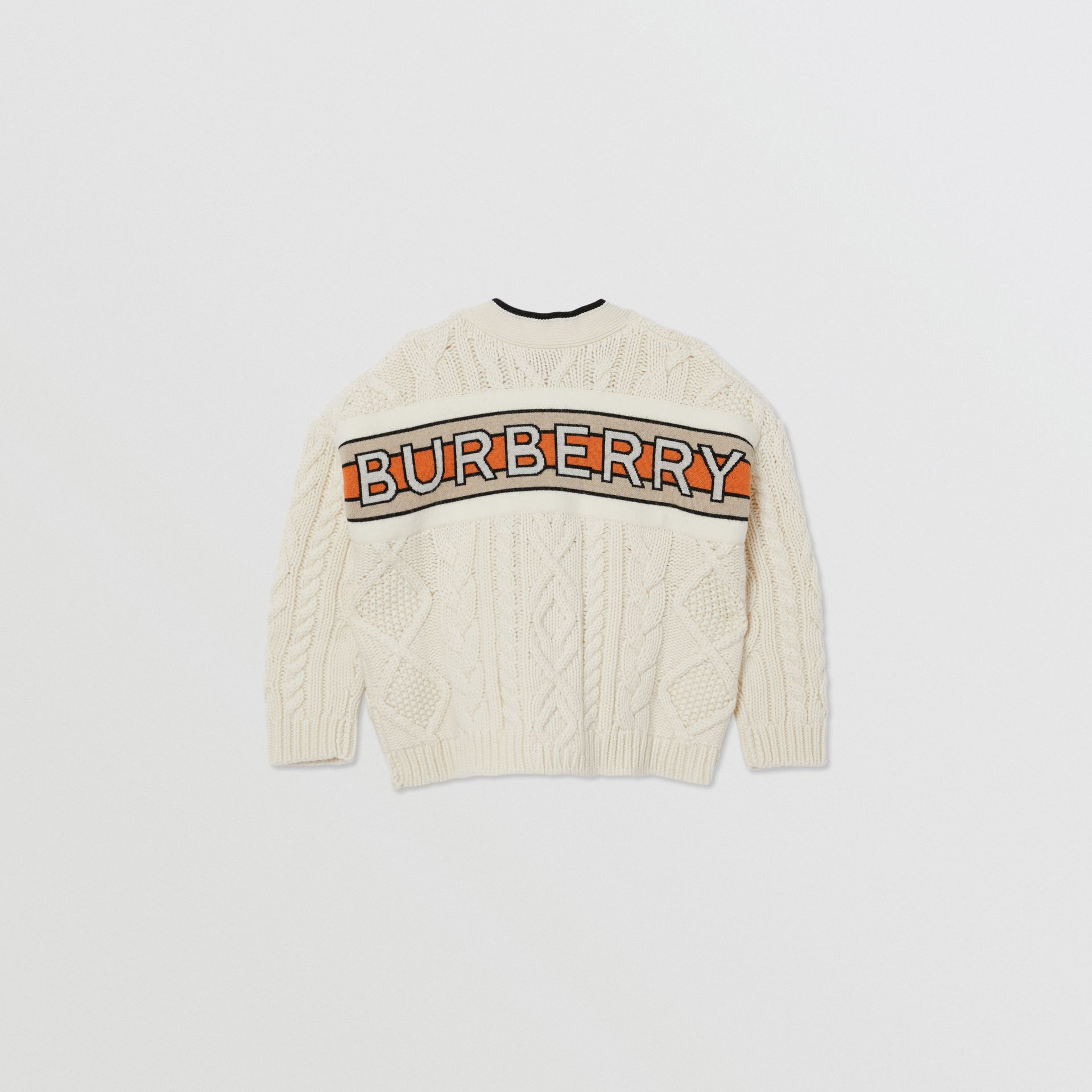 Logo Panel Cable Knit Wool Cashmere Cardigan in Ivory | Burberry - gallery image 3