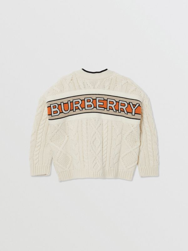 Logo Panel Cable Knit Wool Cashmere Cardigan in Ivory | Burberry - cell image 3