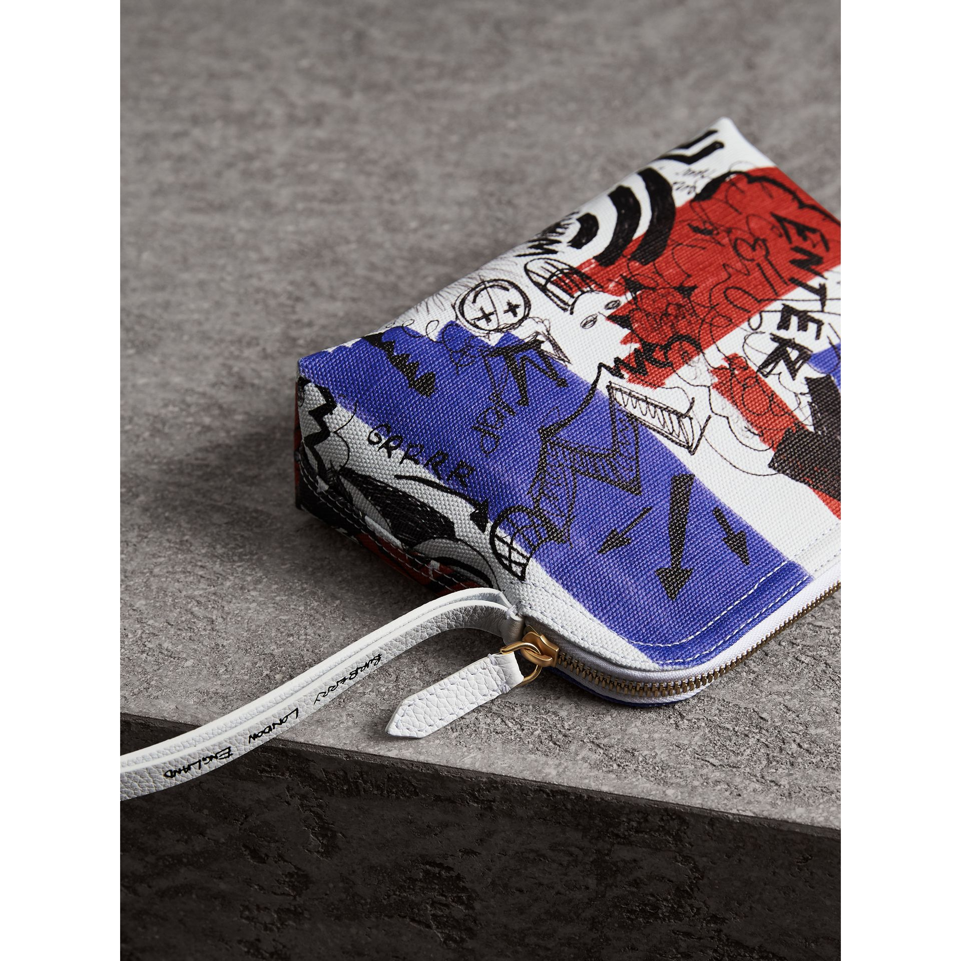 Large Zip-top Doodle Print Coated Canvas Pouch in Red/blue - Women | Burberry - gallery image 3
