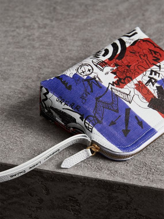 Large Zip-top Doodle Print Coated Canvas Pouch in Red/blue - Women | Burberry - cell image 3