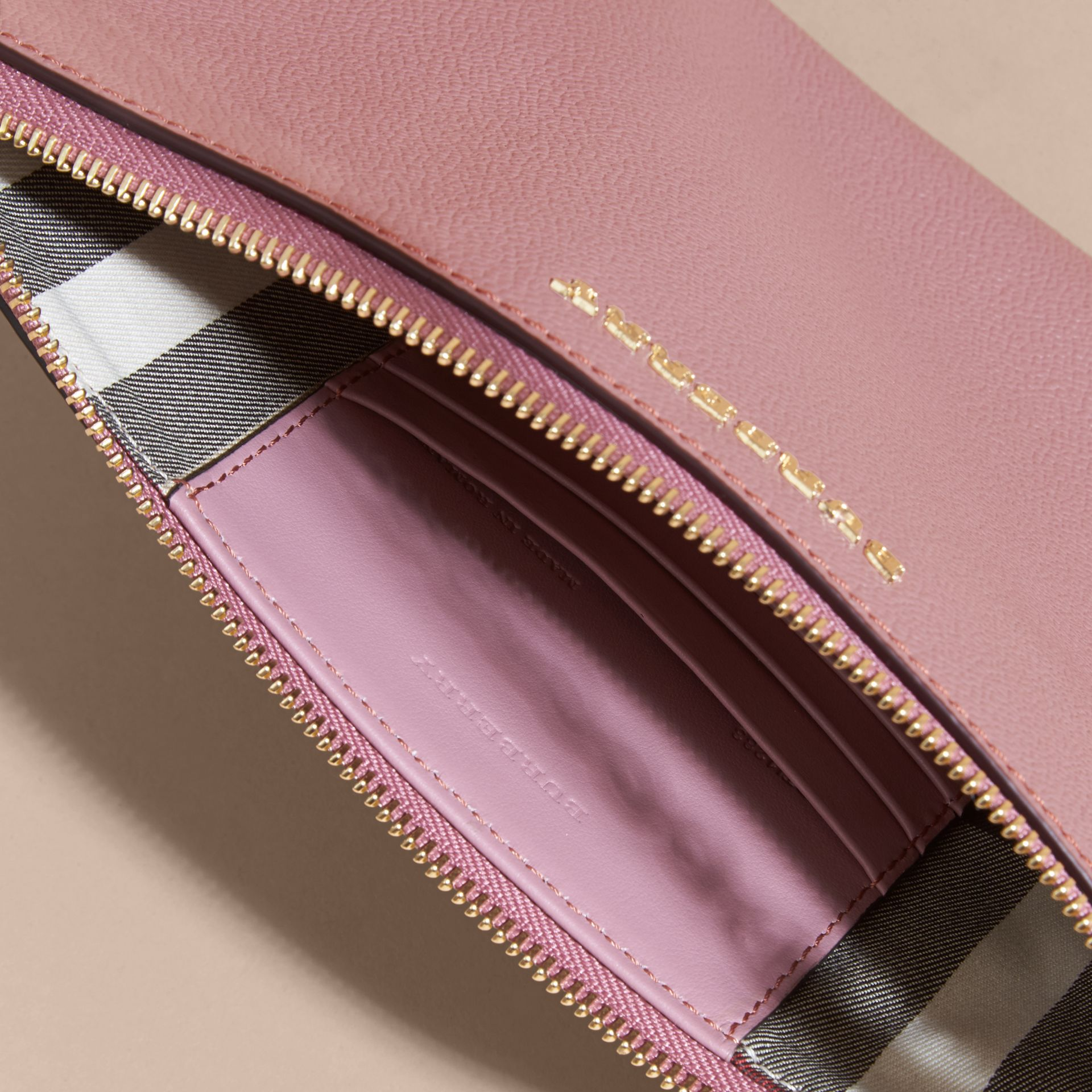 Leather Clutch Bag with Check Lining Dusty Pink - gallery image 6
