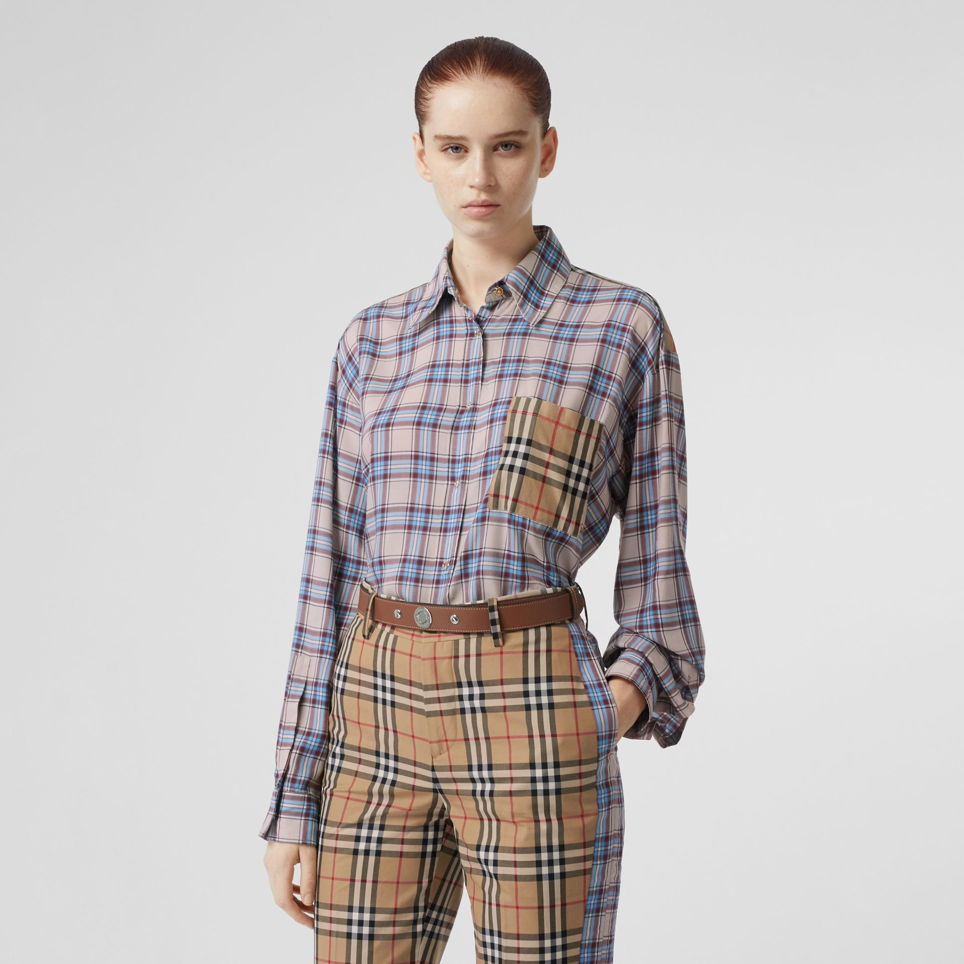 Vintage Check Panel Check Voile Shirt in Pale Blue - Women | Burberry - gallery image 0