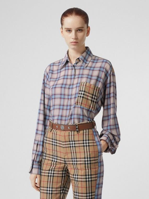 Camisa xadrez em voile com recortes Vintage Check (Azul Claro)