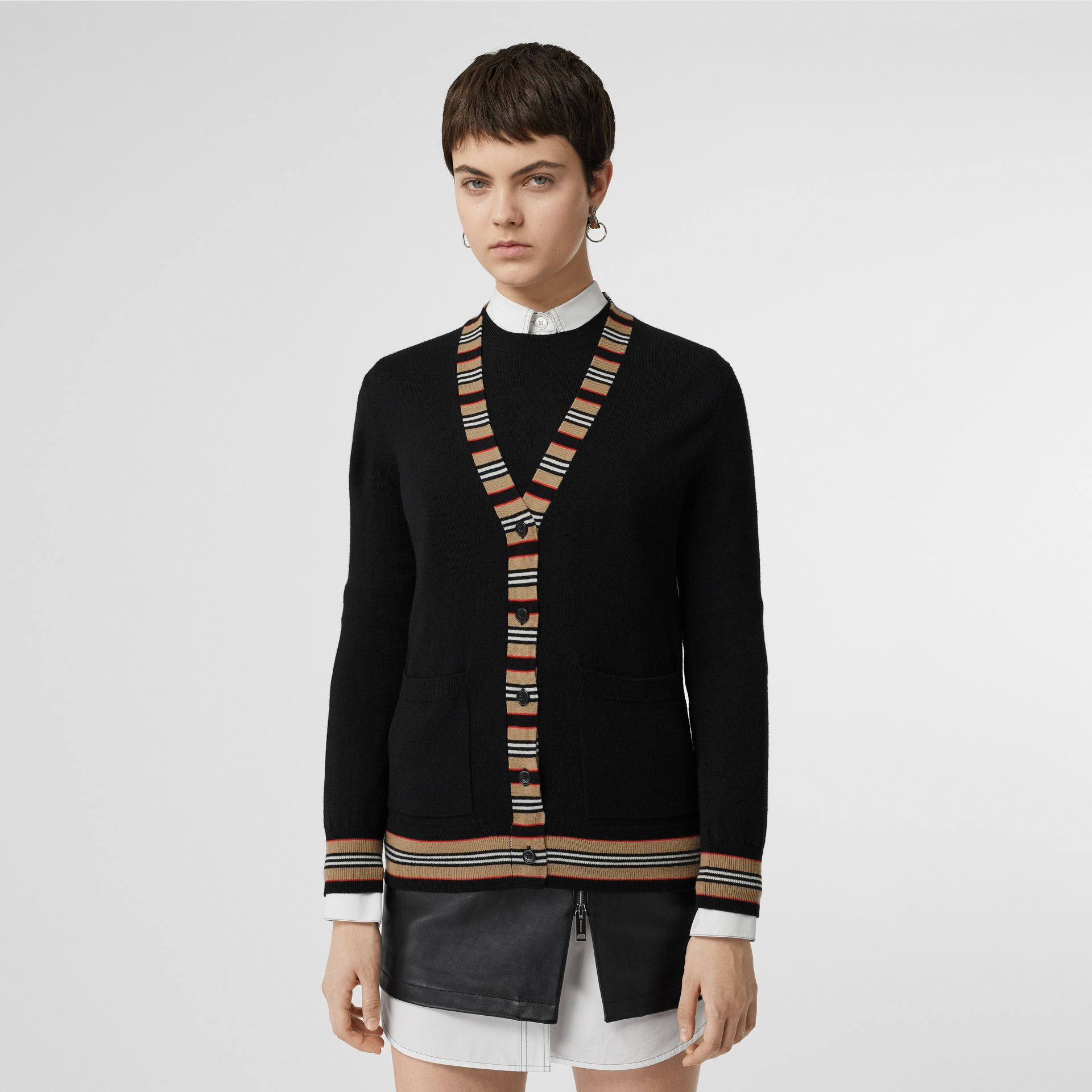 Icon Stripe Detail Merino Wool Cardigan in Black - Women | Burberry Canada - gallery image 4