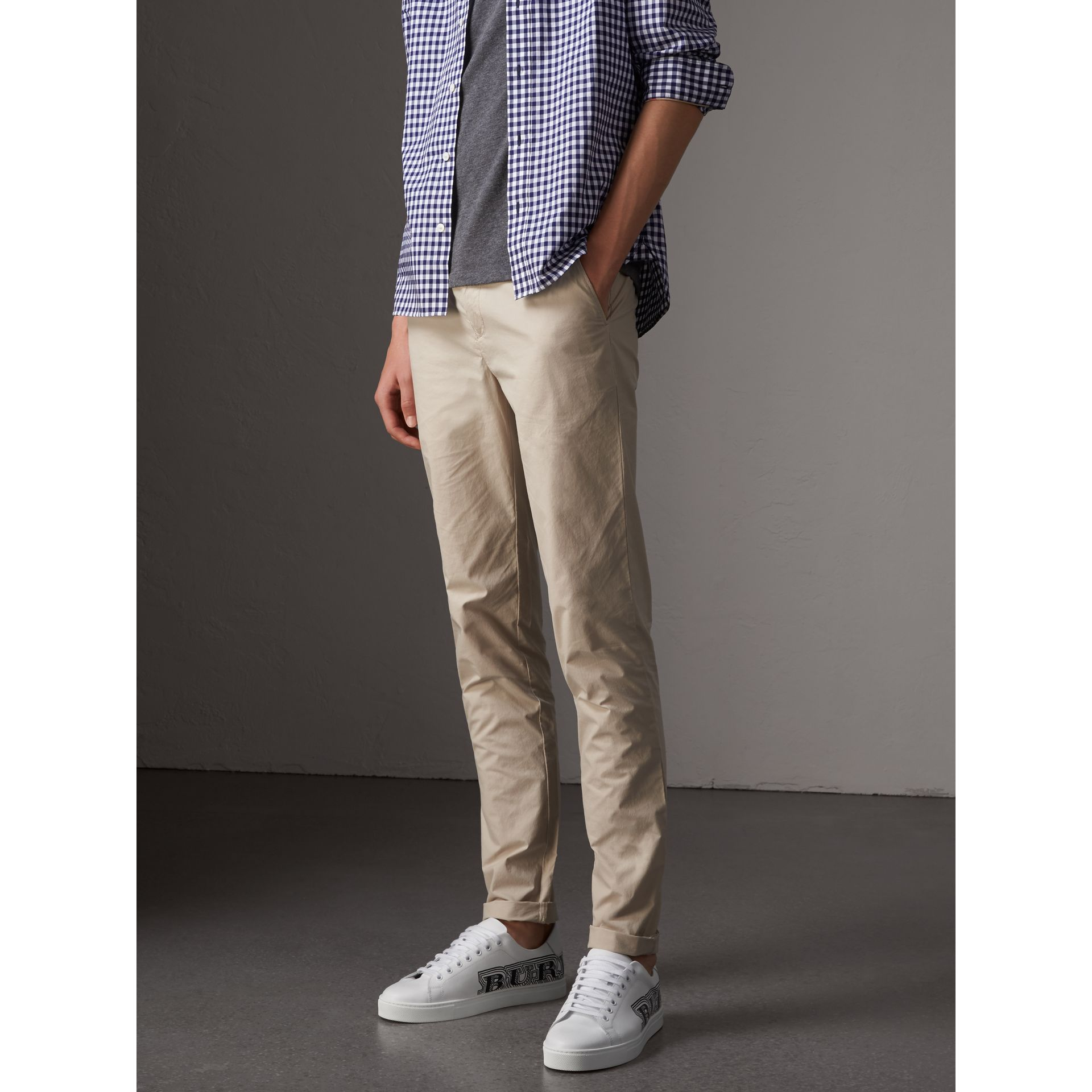 Slim Fit Cotton Poplin Chinos in Stone - Men | Burberry - gallery image 5