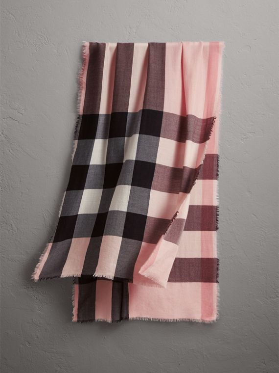 The Lightweight Check Cashmere Scarf in Ash Rose