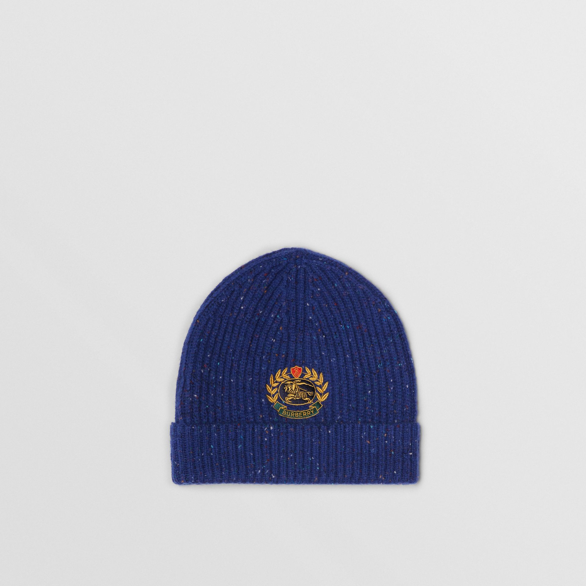 Embroidered Archive Logo Wool Blend Beanie in Navy | Burberry - gallery image 0