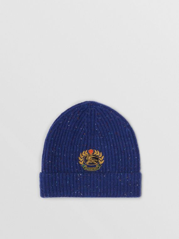 Embroidered Archive Logo Wool Blend Beanie in Navy
