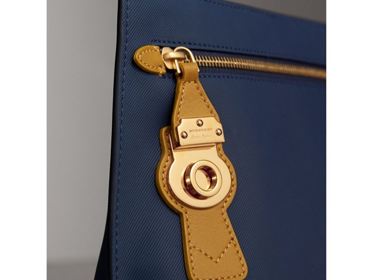 Two-tone Trench Leather Wristlet Pouch in Ink Blue/ochre Yellow - Women | Burberry Australia - cell image 1