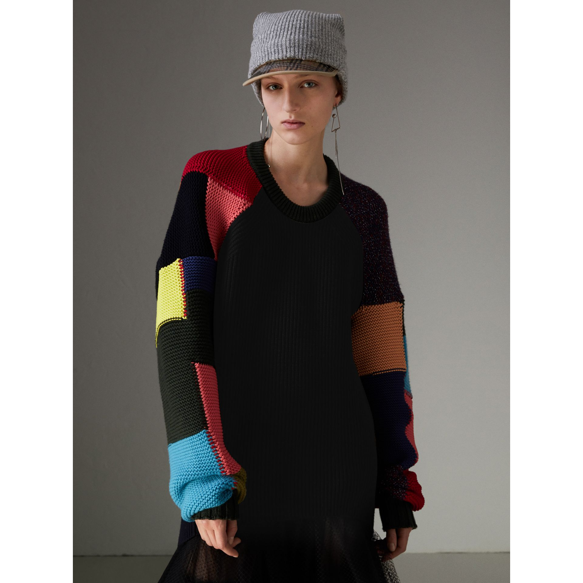 Patchwork Wool Cashmere Blend Sweater in Multicolour - Women | Burberry United Kingdom - gallery image 4