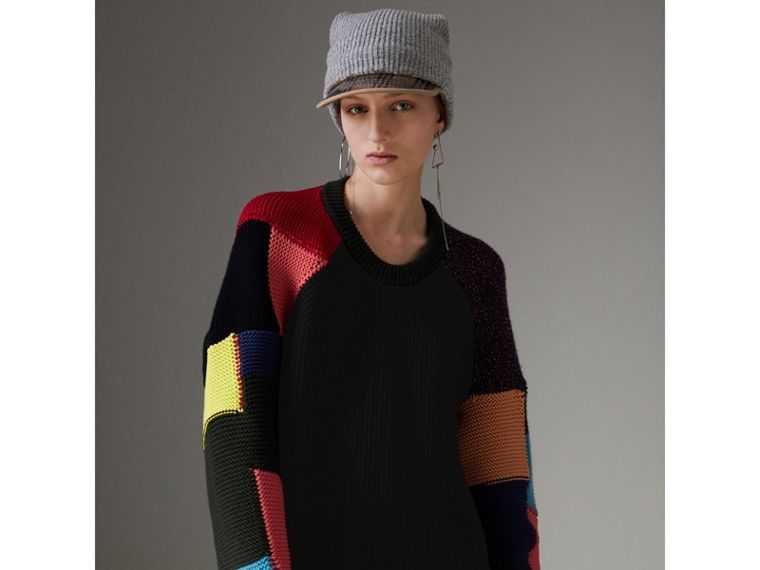 Patchwork Wool Cashmere Blend Sweater in Multicolour - Women | Burberry United Kingdom - cell image 4