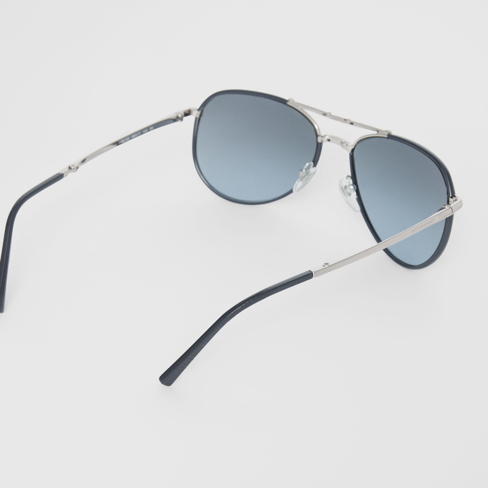 Folding Pilot Sunglasses in Navy - Men | Burberry Canada - gallery image 4