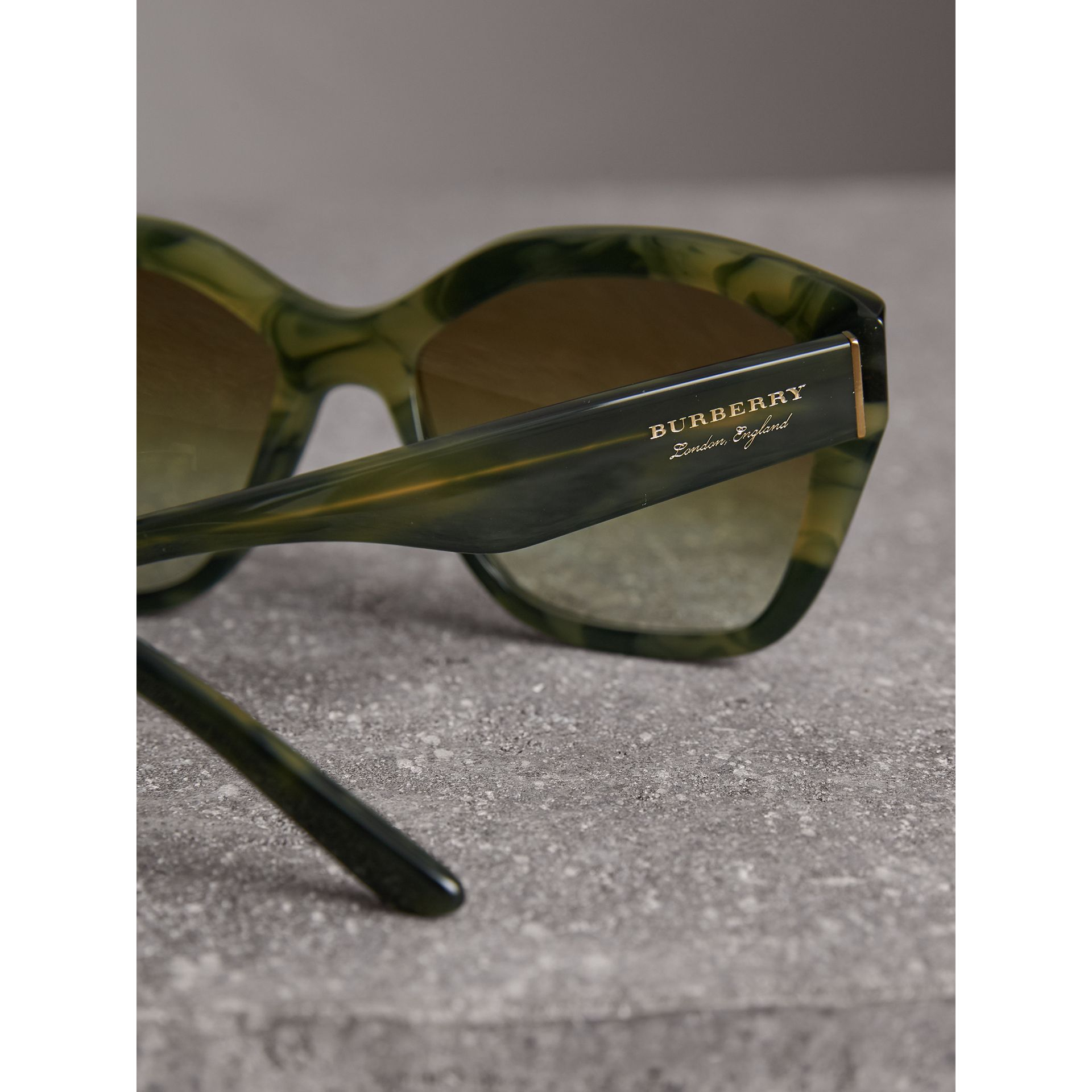 Square Frame Sunglasses in Smokey Green - Women | Burberry - gallery image 1