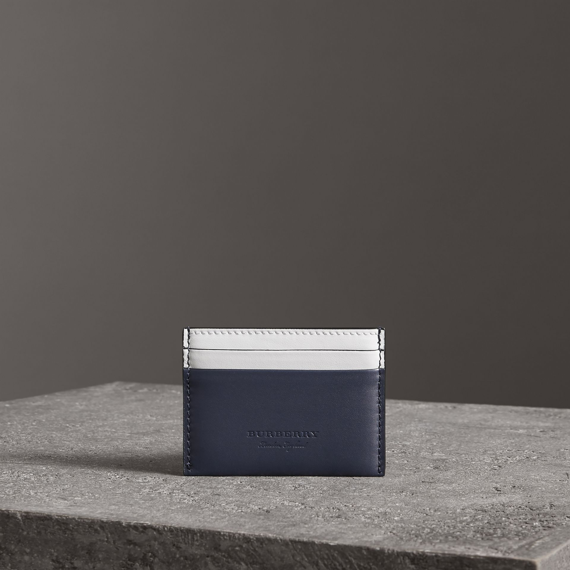 Two-tone Leather Card Case in Mid Indigo - Women | Burberry - gallery image 0