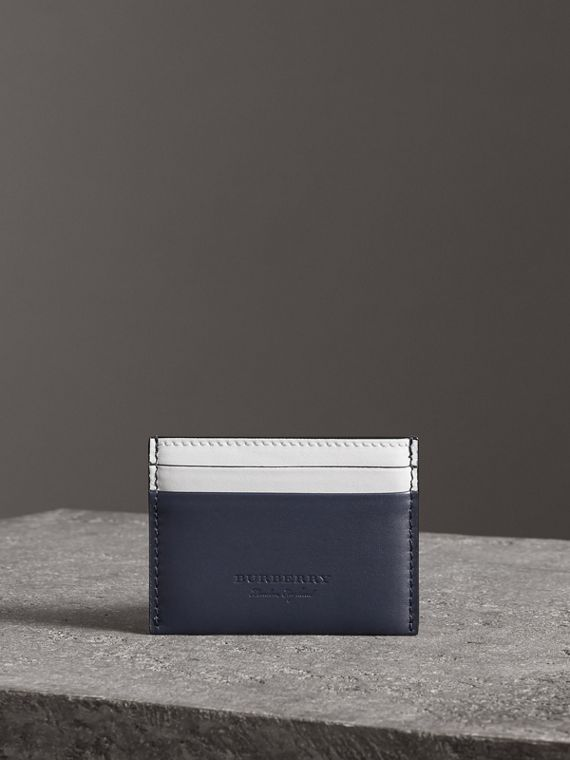 Two-tone Leather Card Case in Mid Indigo