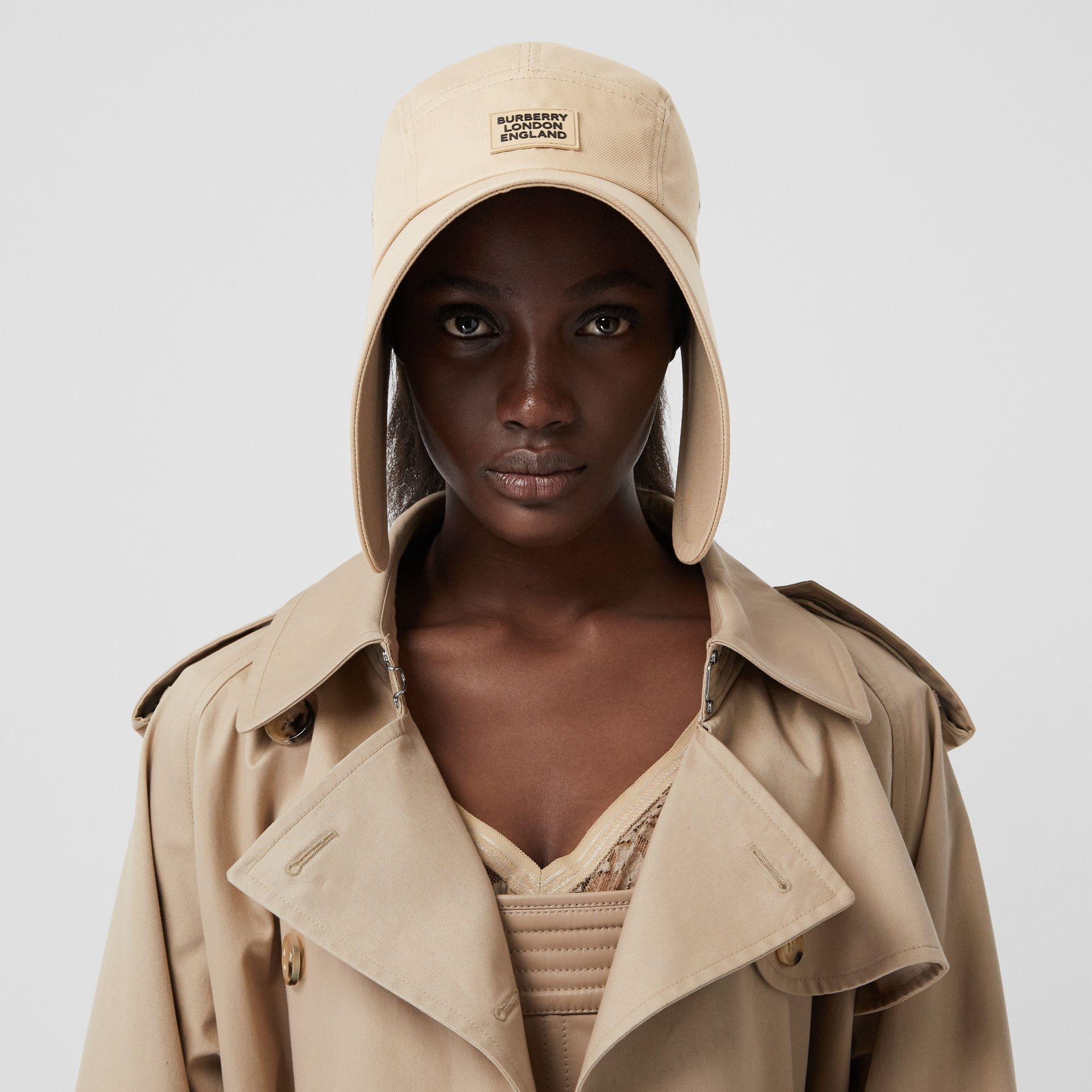 Logo Appliqué Cotton Twill Bonnet Cap in Soft Fawn | Burberry - gallery image 2