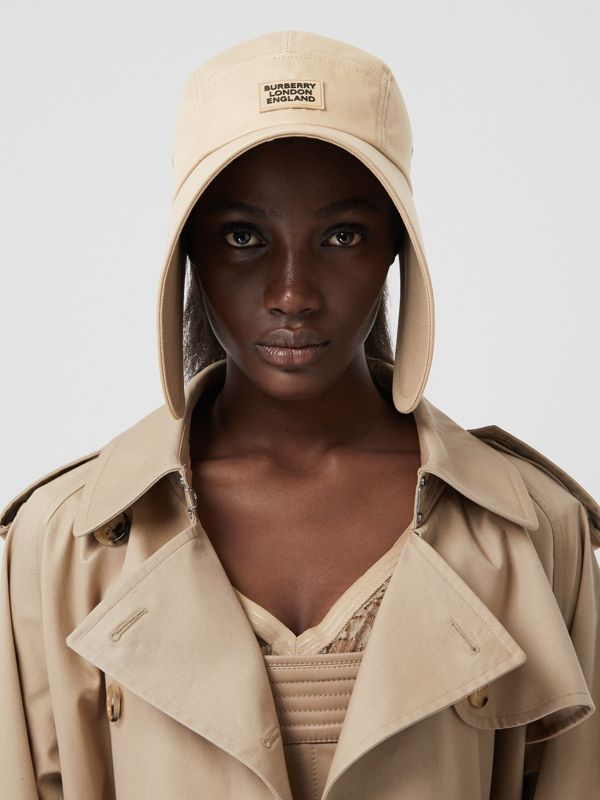 Logo Appliqué Cotton Twill Bonnet Cap in Soft Fawn | Burberry - cell image 2