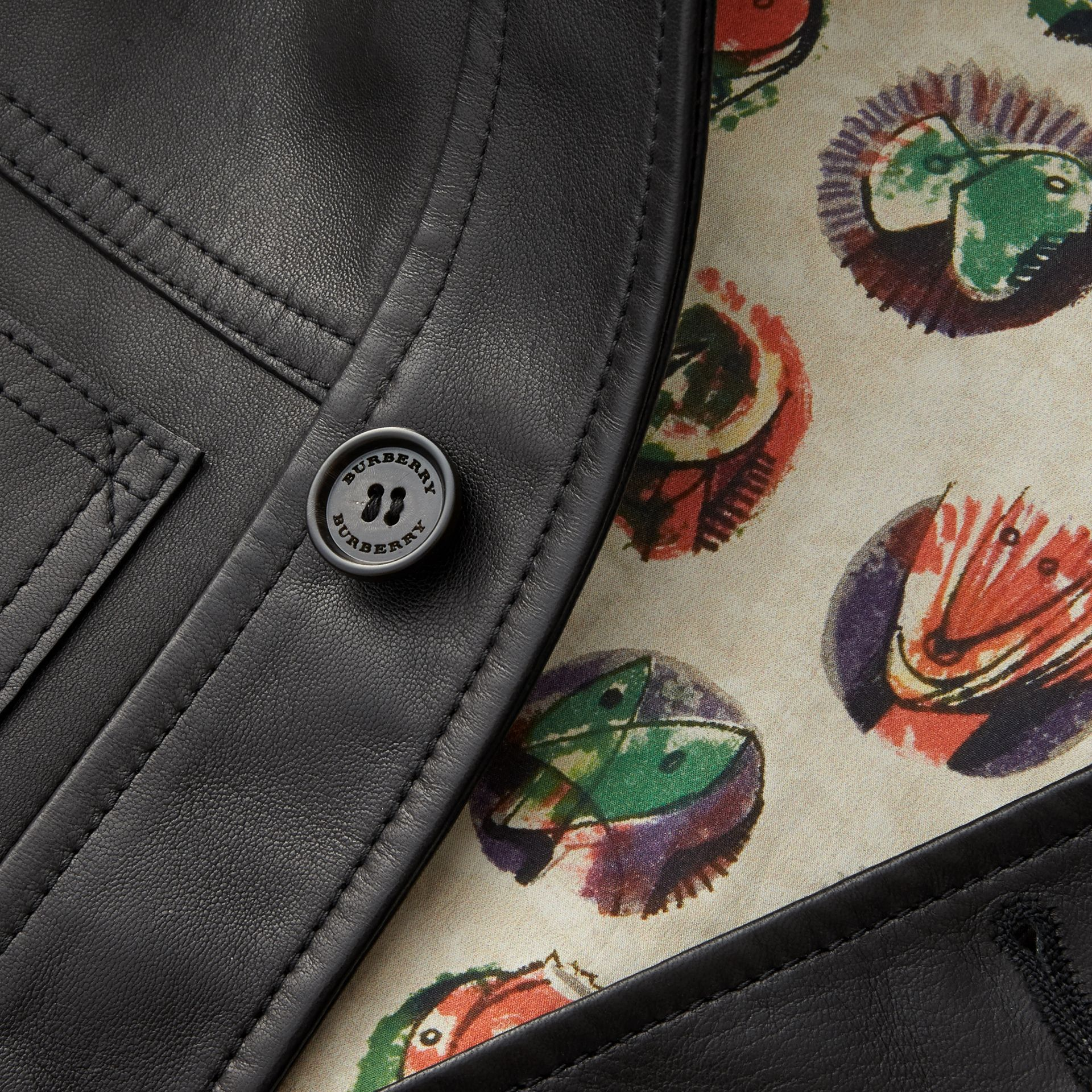 Leather Trucker Jacket with Pallas Heads Print Lining in Black - Men | Burberry - gallery image 2