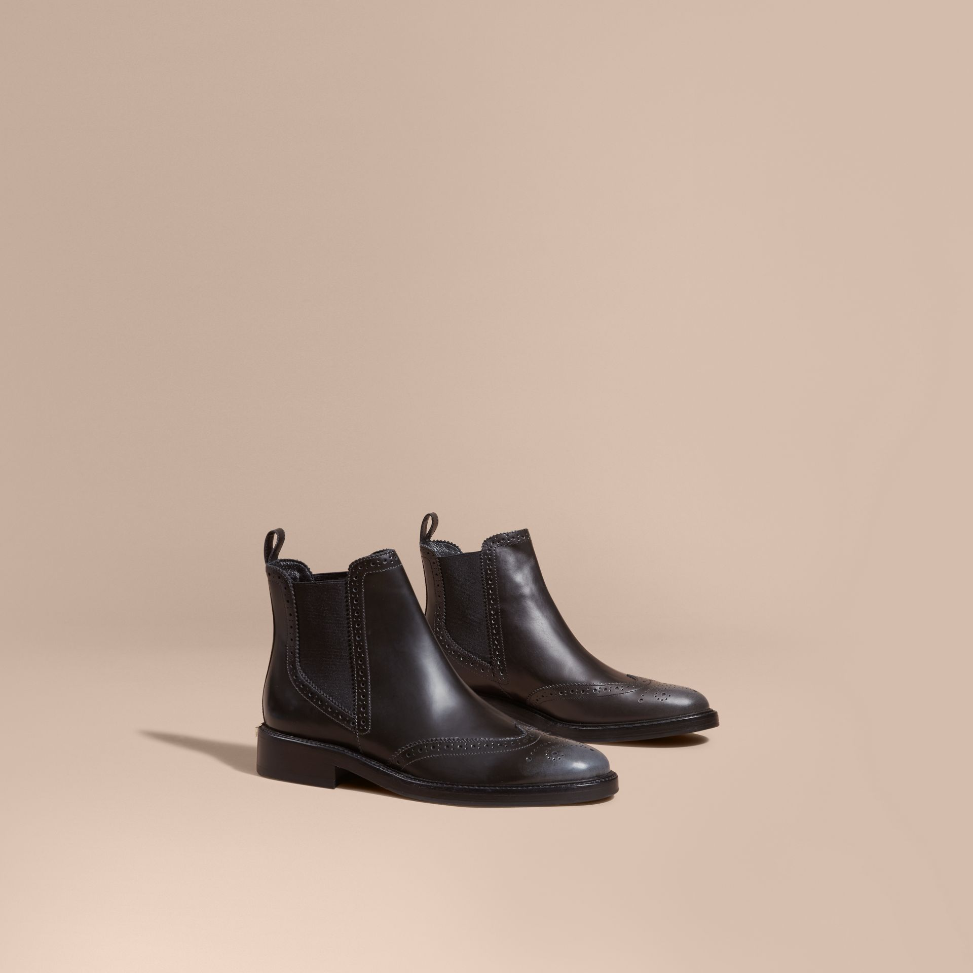 Ink grey Burnished Leather Wingtip Chelsea Boots - gallery image 1