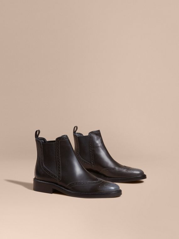 Burnished Leather Wingtip Chelsea Boots