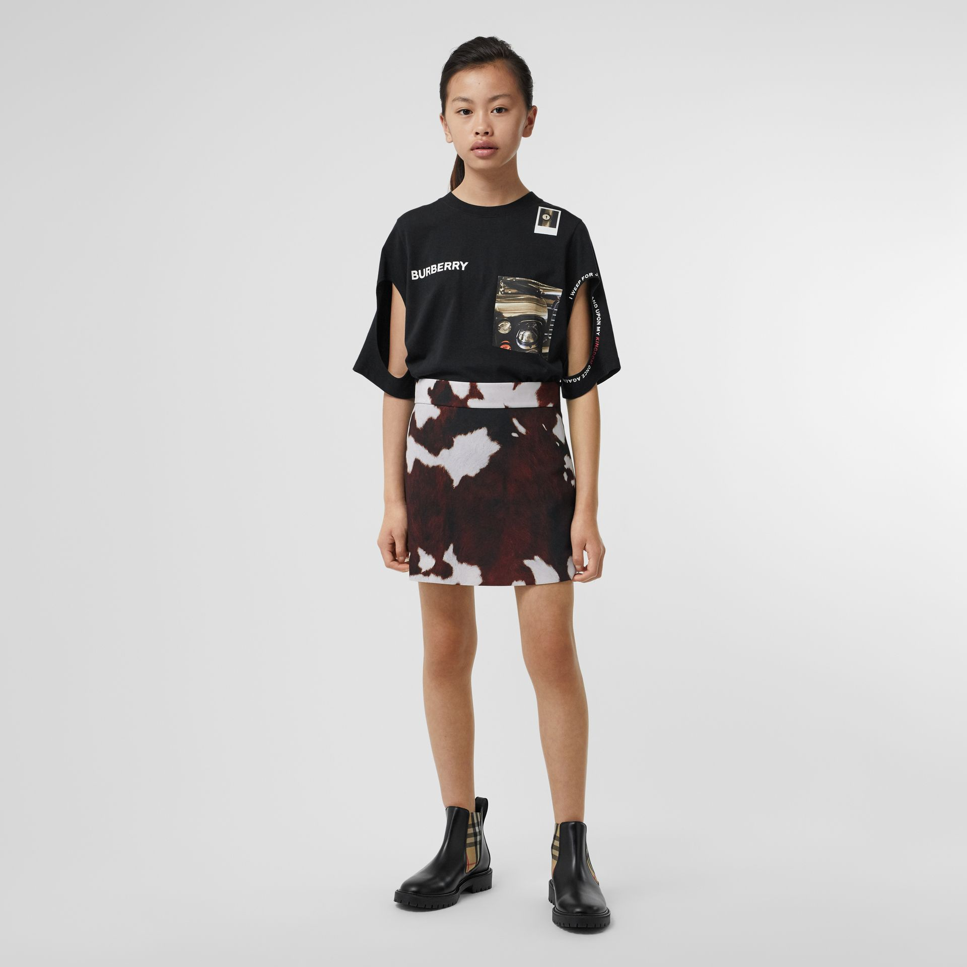 Cow Print Twill Skirt in Brown | Burberry Singapore - gallery image 3