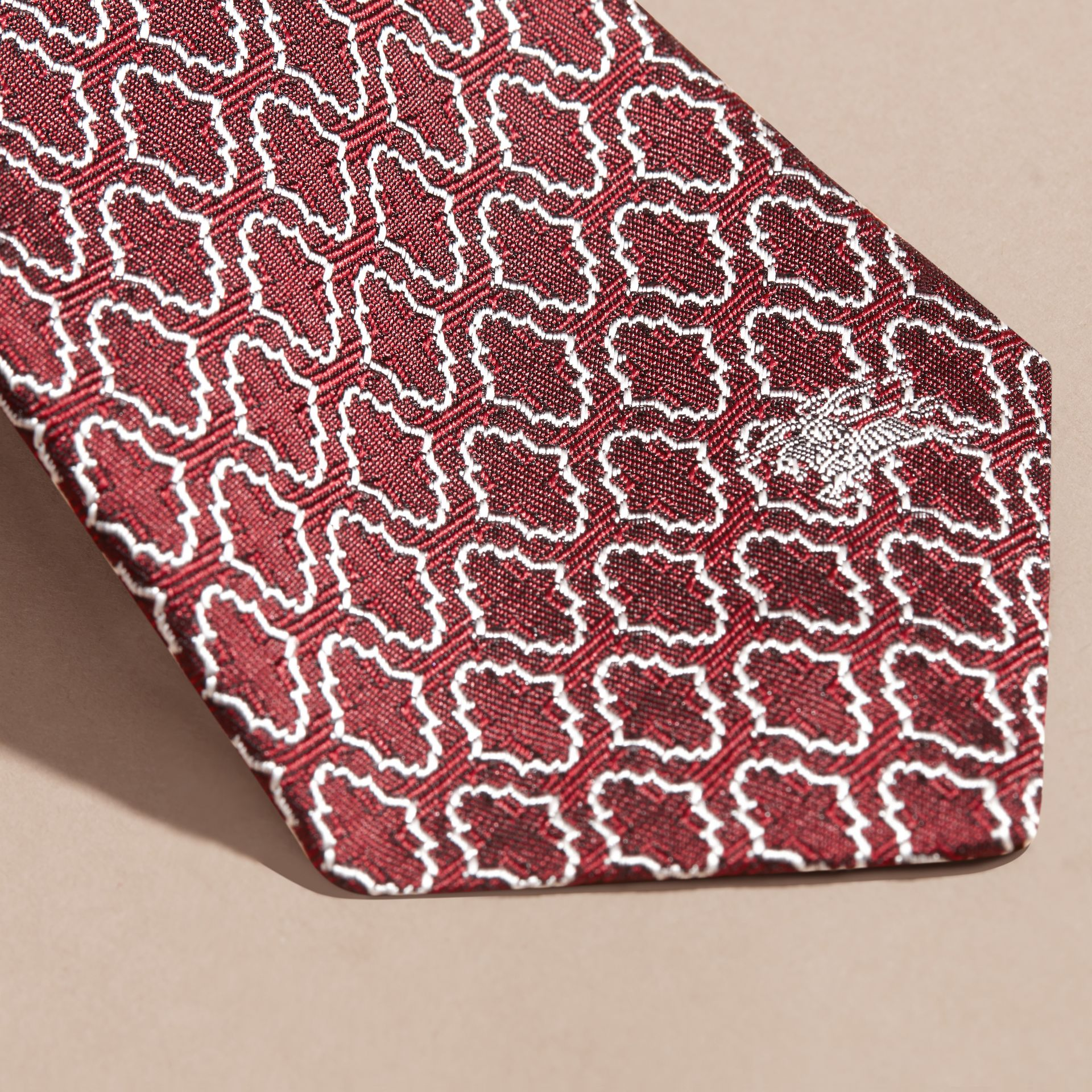 Parade red Slim Cut Geometric Jacquard Silk Tie Parade Red - gallery image 2