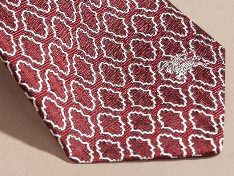 Parade red Slim Cut Geometric Jacquard Silk Tie Parade Red - cell image 1