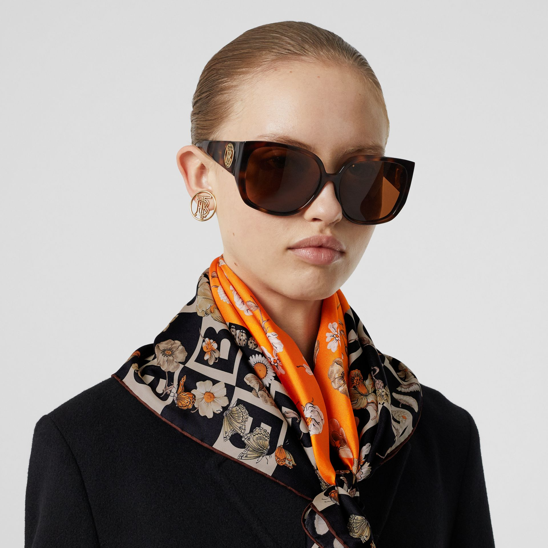 B Motif and Floral Print Silk Square Scarf in Bright Orange | Burberry United Kingdom - gallery image 2