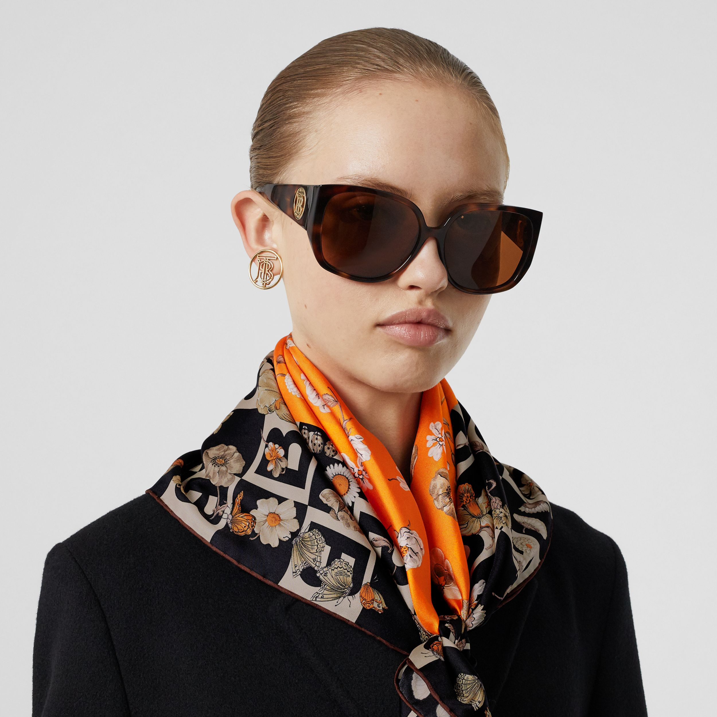 B Motif and Floral Print Silk Square Scarf in Bright Orange | Burberry United Kingdom - 3
