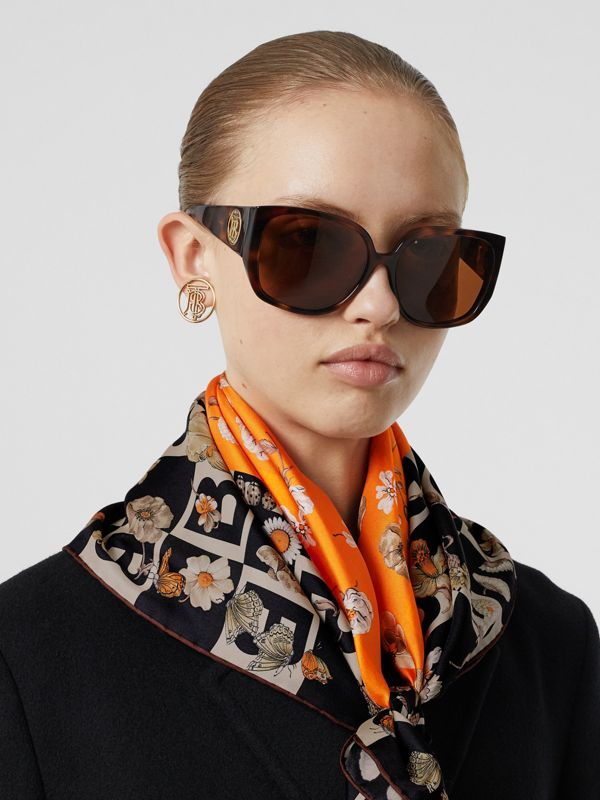 B Motif and Floral Print Silk Square Scarf in Bright Orange | Burberry - cell image 2