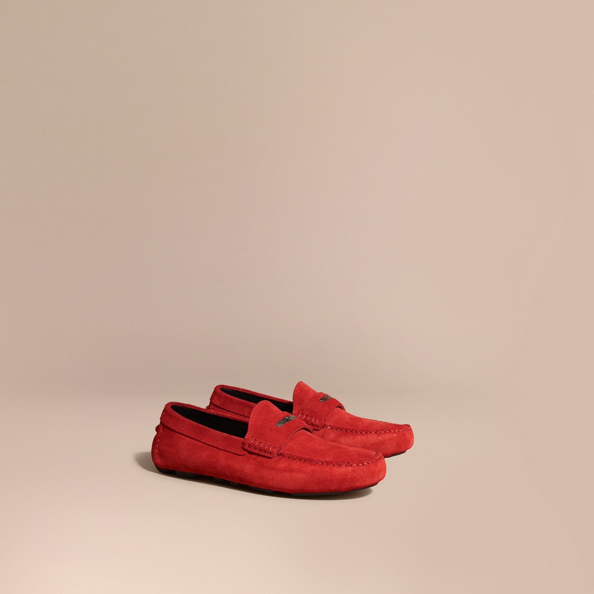 Suede Loafers with Engraved Check Detail in Bright Rowenberry - gallery image 1