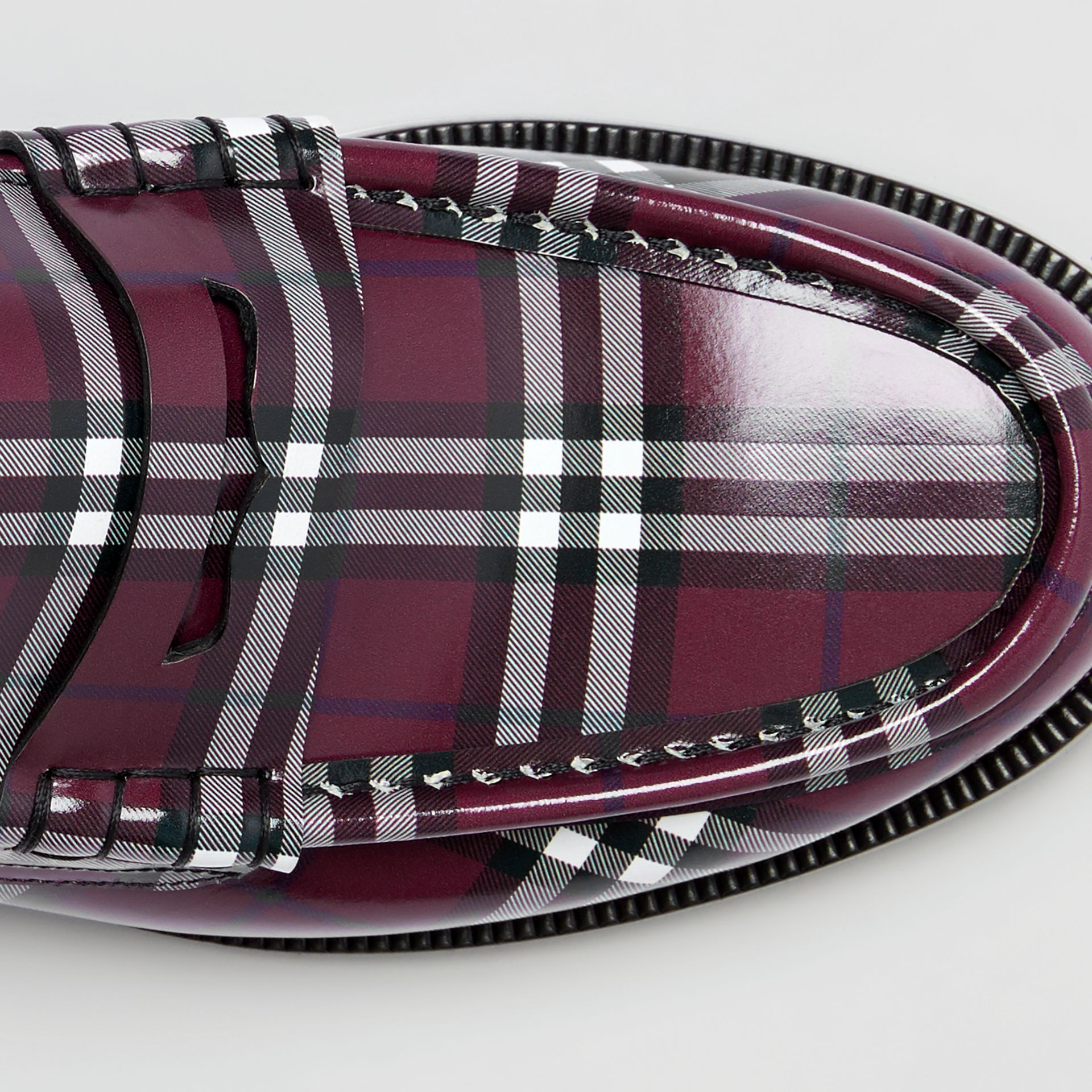Gosha x Burberry Check Leather Loafers in Claret - Men | Burberry - gallery image 6