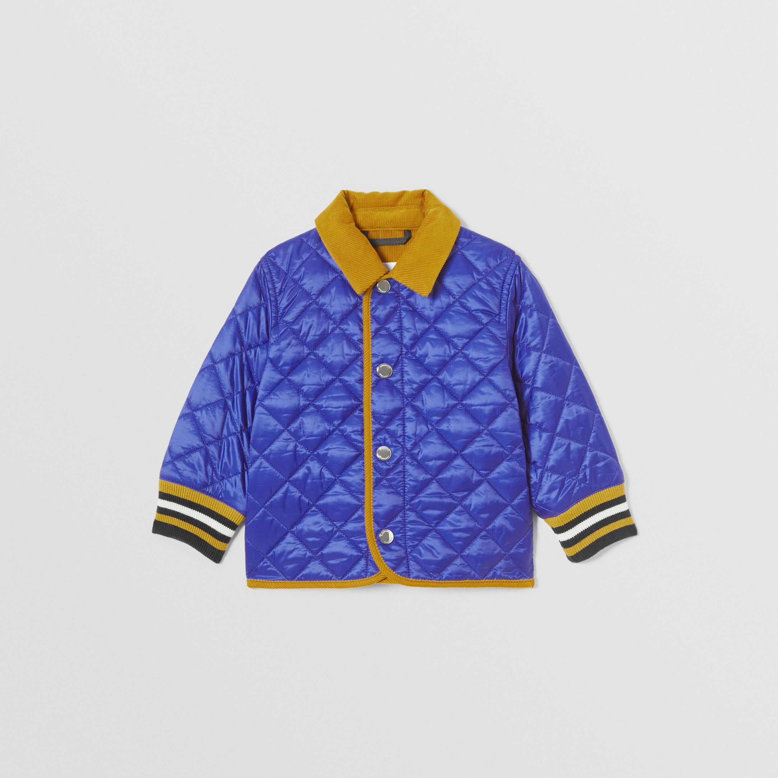 Corduroy Trim Lightweight Diamond Quilted Jacket in Dark Cobalt Blue - Children | Burberry - 1
