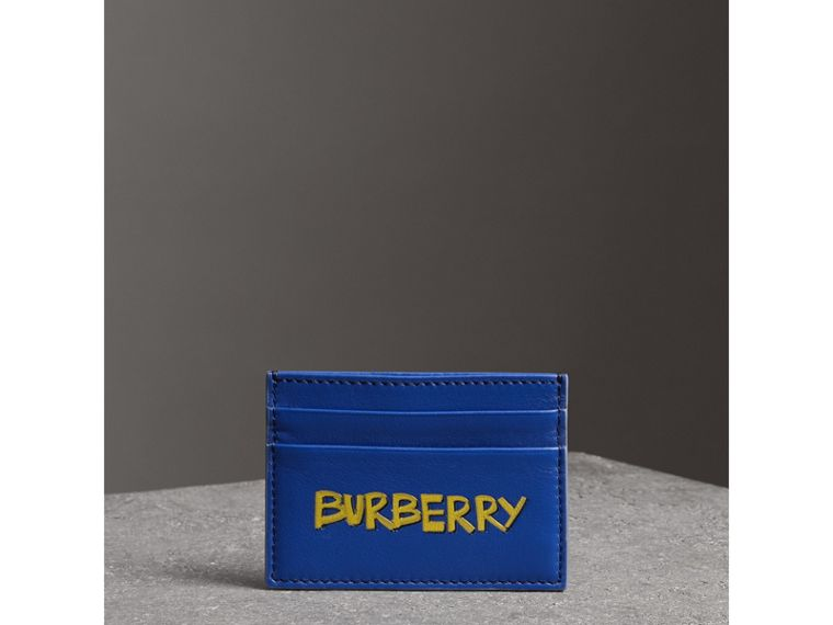 Graffiti Print Leather Card Case in Denim Blue | Burberry - cell image 4