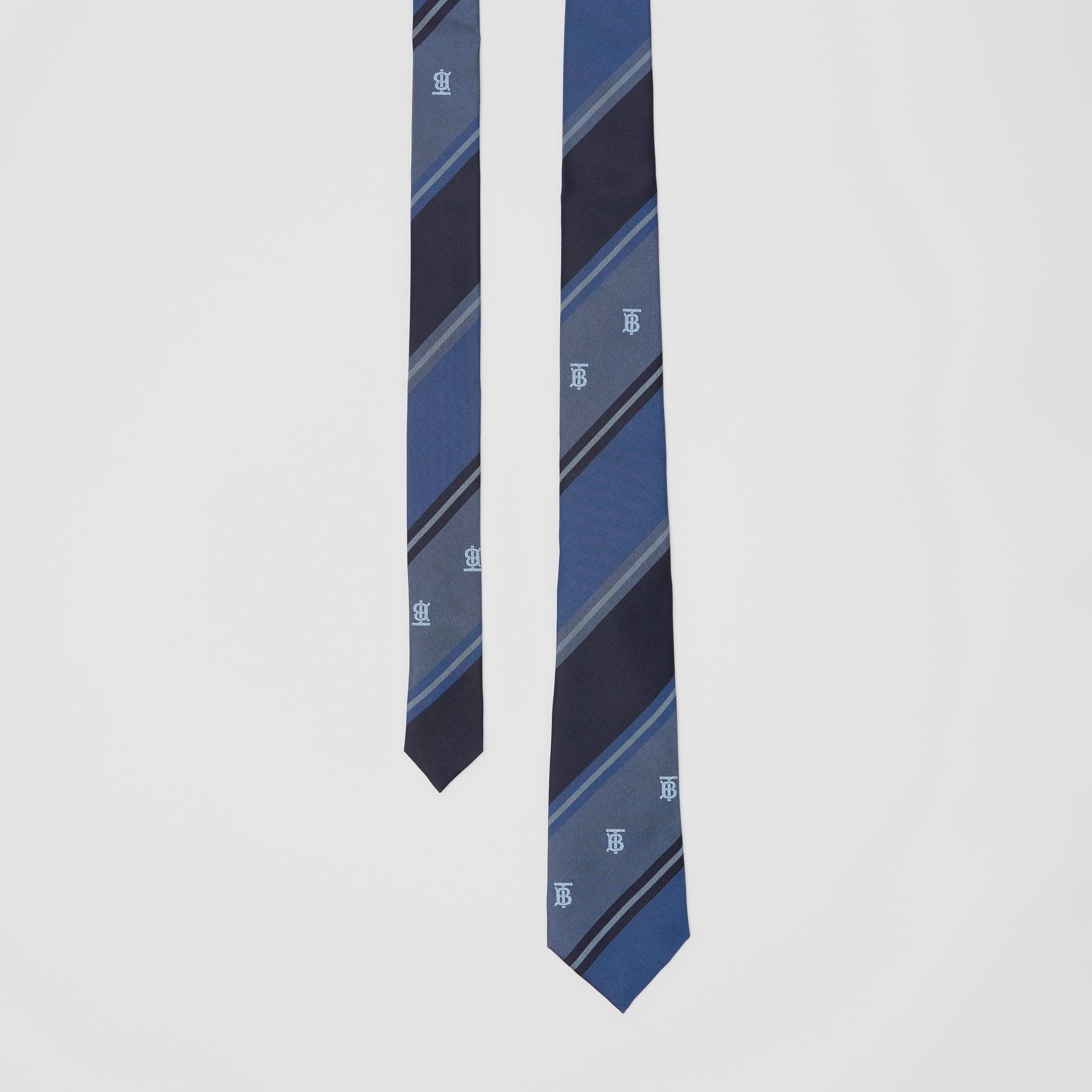 Classic Cut Monogram Motif Striped Silk Jacquard Tie in Bright Steel Blue - Men | Burberry - gallery image 0