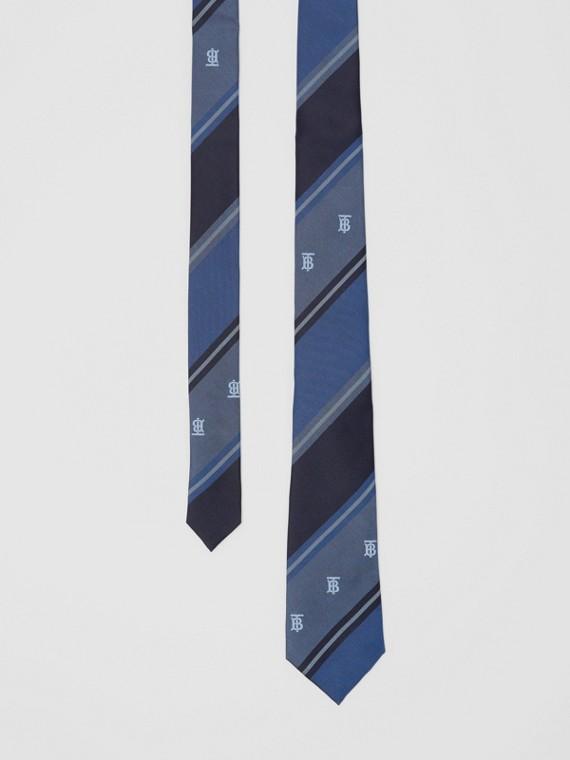 Klassische Krawatte aus Seidenjacquard mit Streifenmuster und Monogrammmotiven (Leuchtendes Stahlblau)