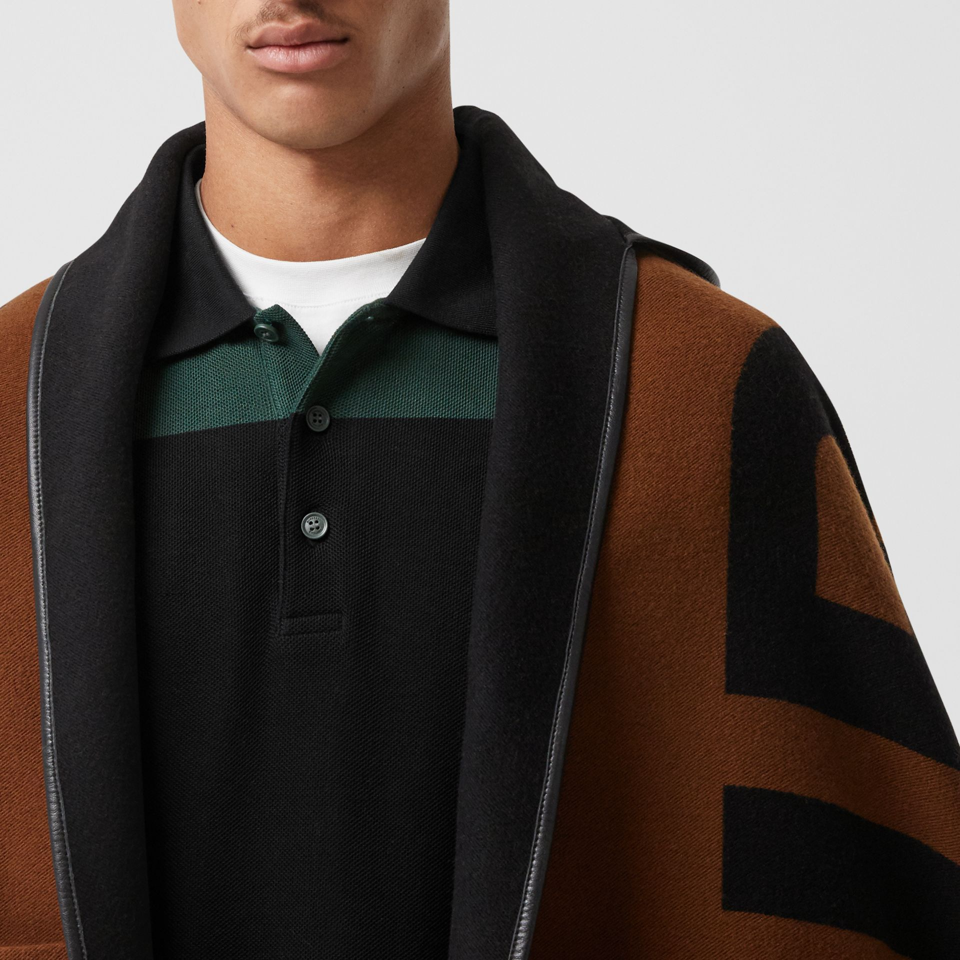 Logo Wool Cotton Jacquard Hooded Cape in Dark Chestnut Brown | Burberry - gallery image 1