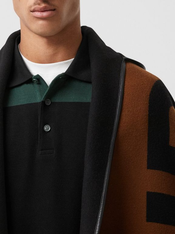 Logo Wool Cotton Jacquard Hooded Cape in Dark Chestnut Brown | Burberry - cell image 1