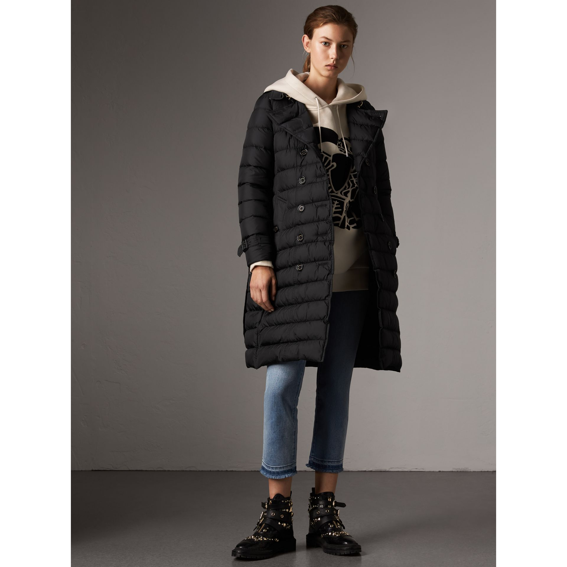 Detachable Hood Fur Trim Down-filled Puffer Coat in Black - Women | Burberry - gallery image 6