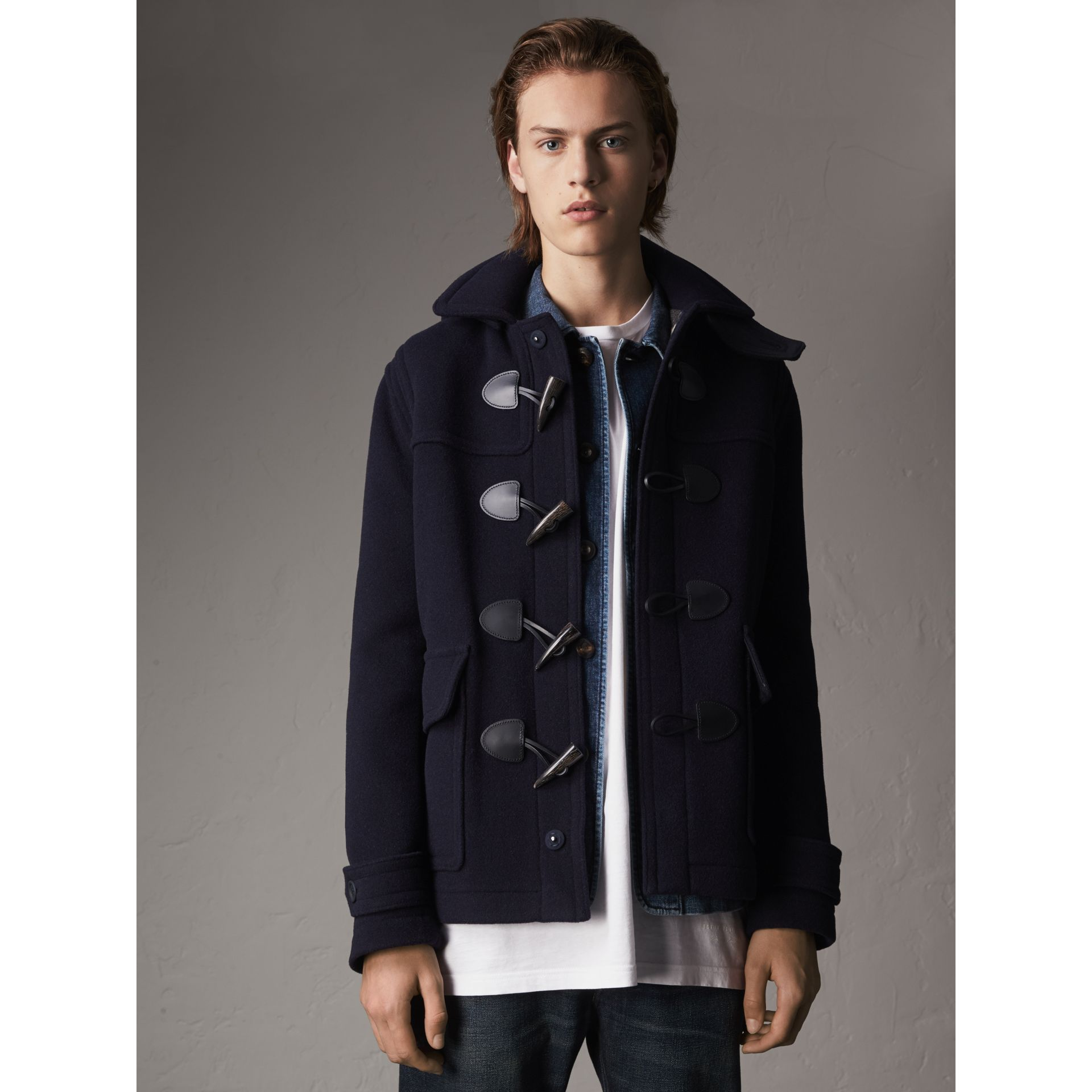 Wool Duffle Jacket with Detachable Hood in Navy - Men | Burberry - gallery image 1