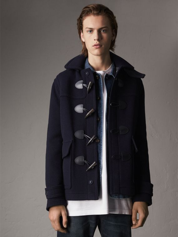 Wool Duffle Jacket with Detachable Hood in Navy
