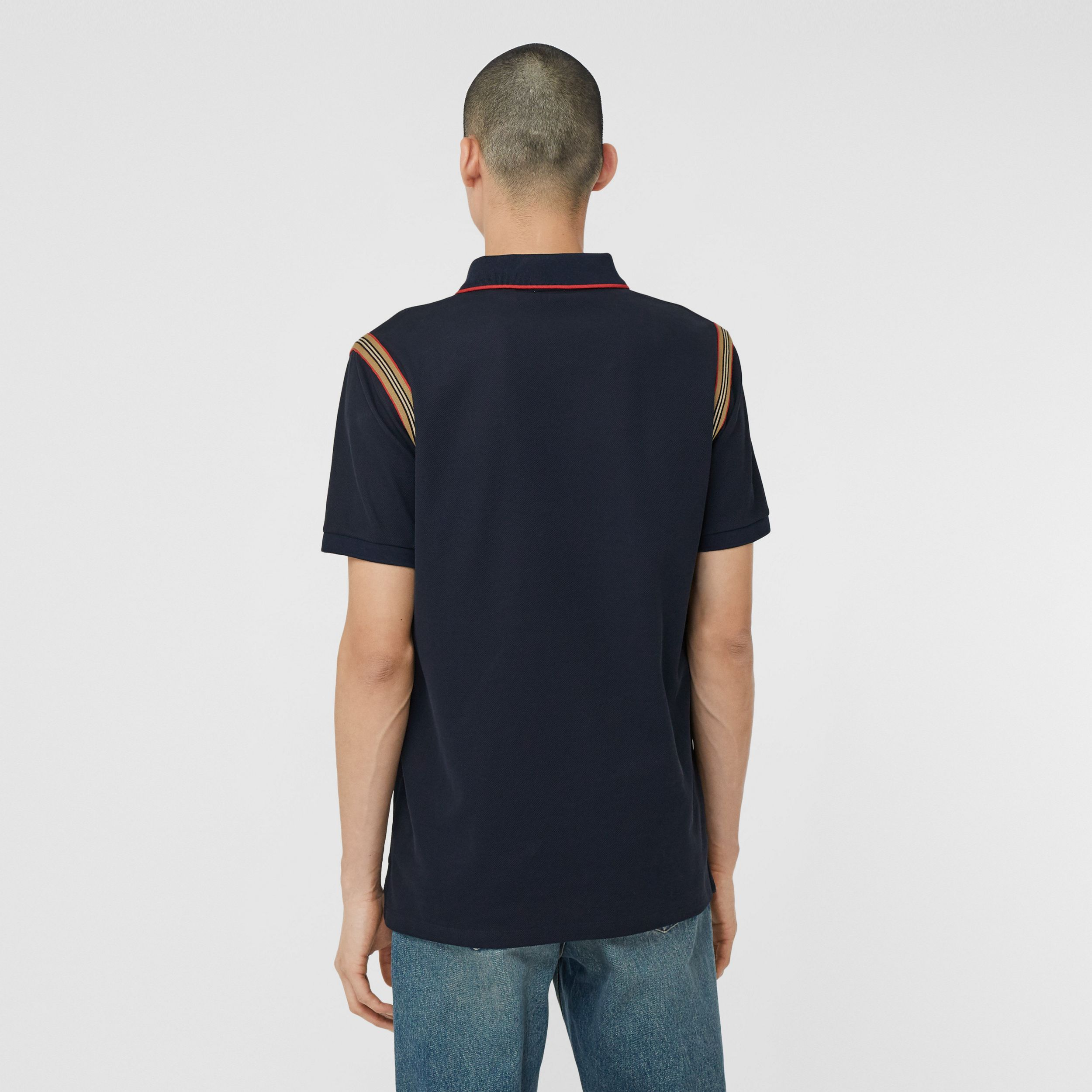 Icon Stripe Trim Monogram Motif Cotton Polo Shirt in Navy - Men | Burberry Hong Kong S.A.R. - 3