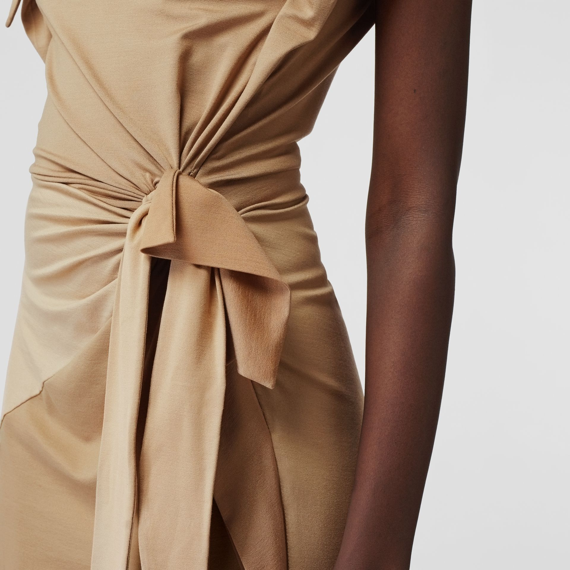 Tie Detail Tri-tone Silk Jersey Dress in Wheat - Women | Burberry - gallery image 6