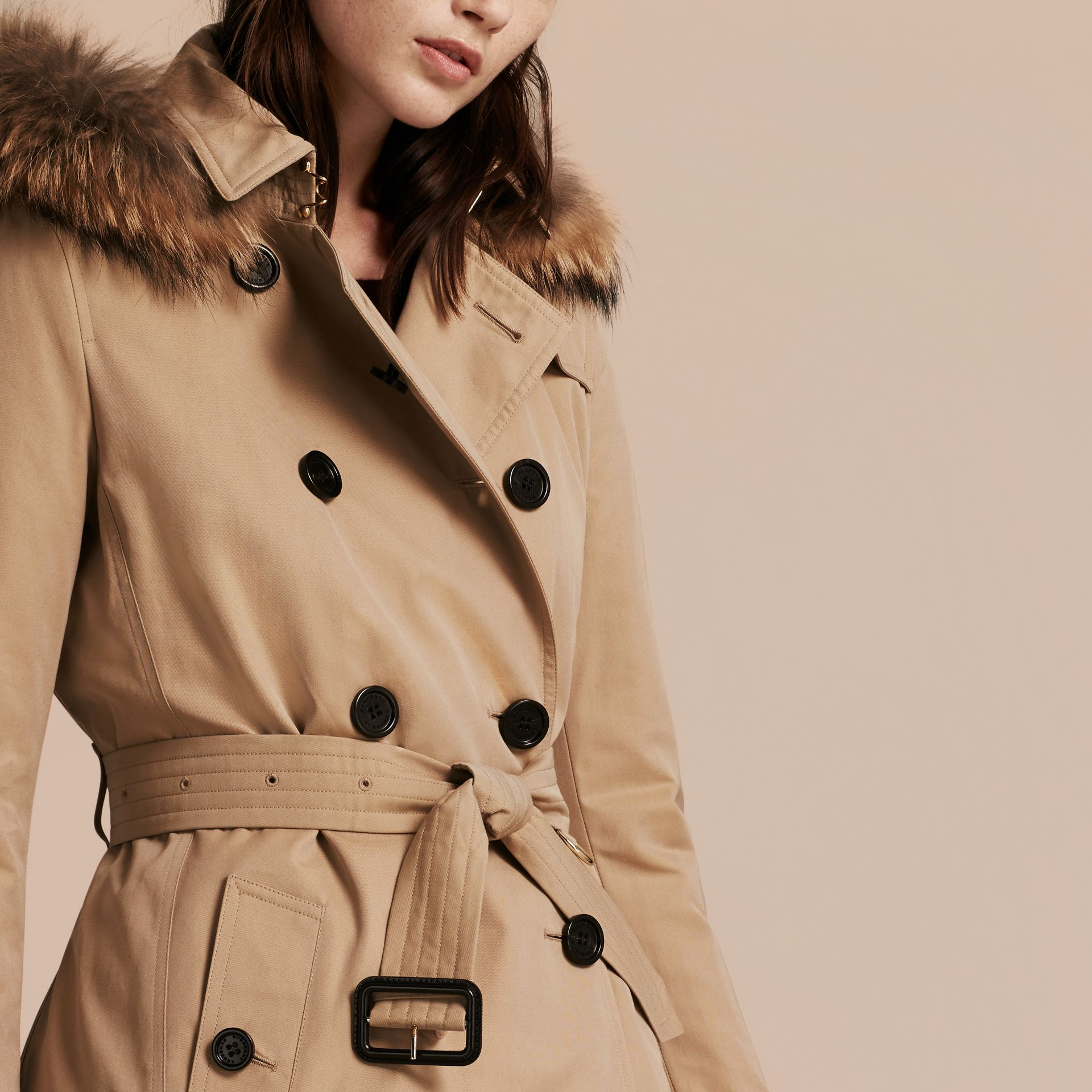 Fur-trimmed Hood Trench Coat with Detachable Warmer in Honey - gallery image 6